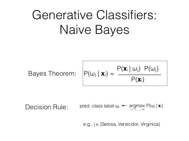 Generative Classifiers: Naive Bayes Decision Rule: Bayes Theorem: P(ωj | xi) = P(xi | ωj) P(ωj) P(xi) pred. class label ωj ...