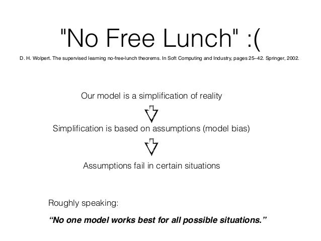 """""""No Free Lunch"""" :( Roughly speaking: """"No one model works best for all possible situations."""" Our model is a simplification o..."""