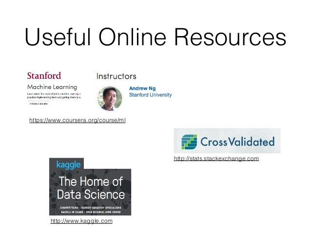Useful Online Resources https://www.coursera.org/course/ml http://stats.stackexchange.com http://www.kaggle.com
