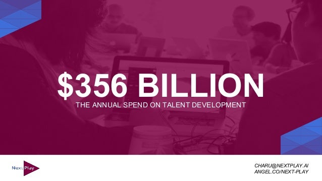 $356 BILLIONTHE ANNUAL SPEND ON TALENT DEVELOPMENT CHARU@NEXTPLAY.AI ANGEL.CO/NEXT-PLAY