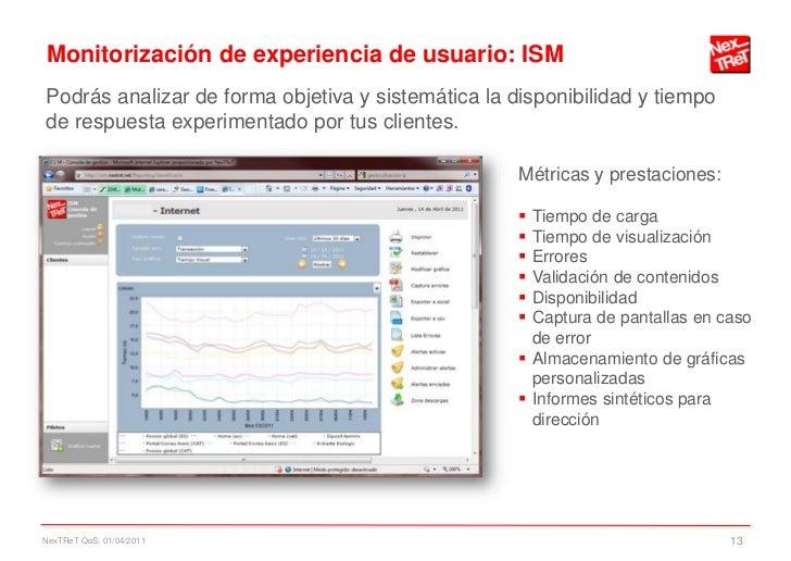 Monitorización de experiencia de usuario: ISMPodrás analizar de forma objetiva y sistemática la disponibilidad y tiempode ...