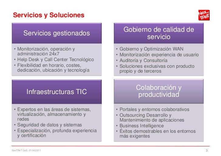 Servicios y Soluciones                                                Gobierno de calidad de         Servicios gestionados...