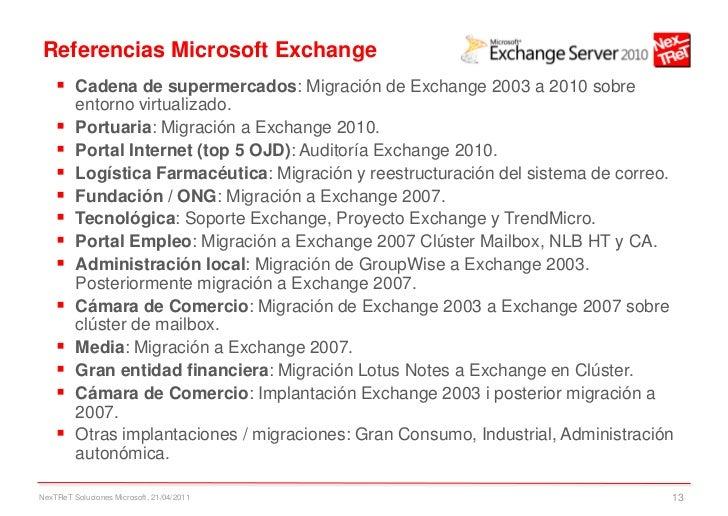 Referencias Microsoft Exchange     Cadena de supermercados: Migración de Exchange 2003 a 2010 sobre         entorno virtu...