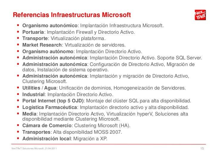 Referencias Infraestructuras Microsoft        Organismo autonómico: Implantación Infraestructura Microsoft.        Portu...