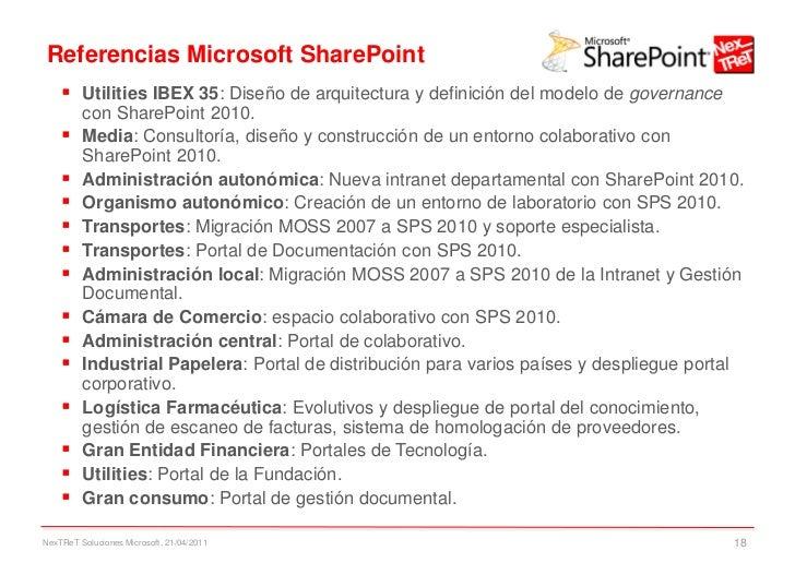 Referencias Microsoft SharePoint     Utilities IBEX 35: Diseño de arquitectura y definición del modelo de governance     ...