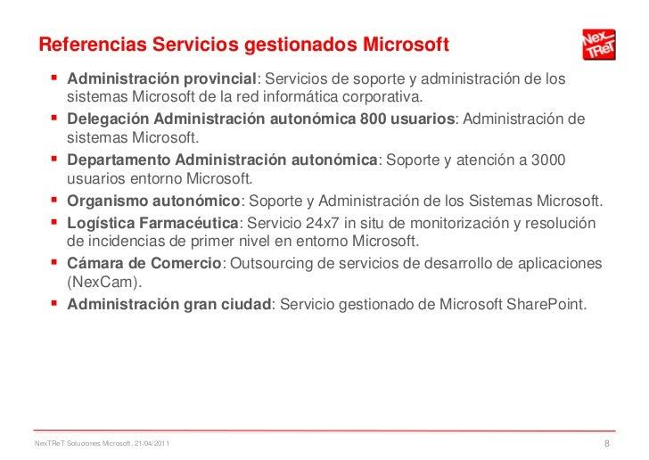 Referencias Servicios gestionados Microsoft     Administración provincial: Servicios de soporte y administración de los  ...
