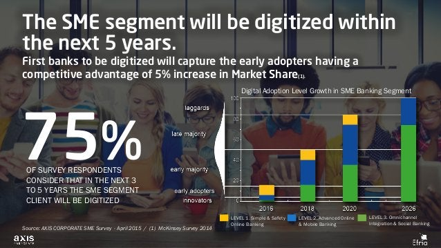 The SME segment will be digitized within the next 5 years. First banks to be digitized will capture the early adopters hav...