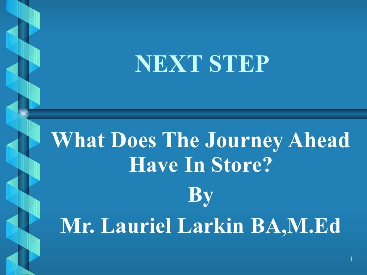 NEXT STEP What Does The Journey Ahead Have In Store? By Mr. Lauriel Larkin BA,M.Ed