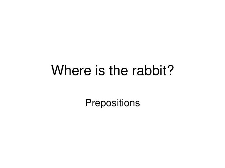 Where is the rabbit?     Prepositions