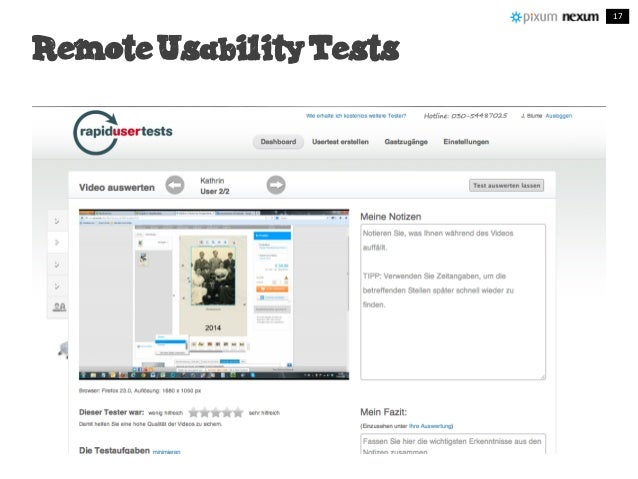 Remote Usability Tests 17