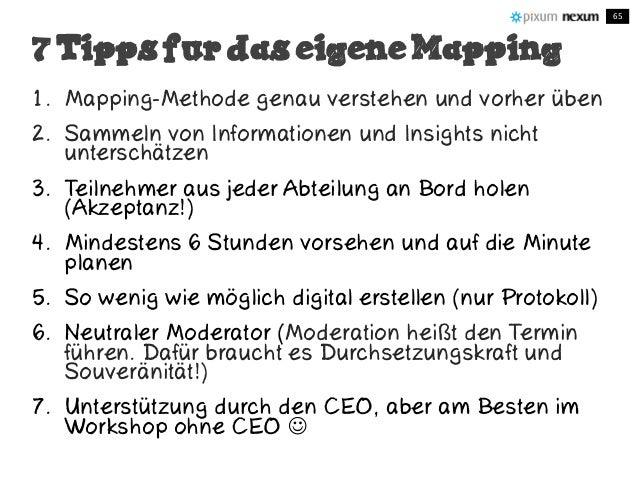 1. Mapping-Methode genau verstehen und vorher üben 2. Sammeln von Informationen und Insights nicht unterschätzen 3. Teilne...