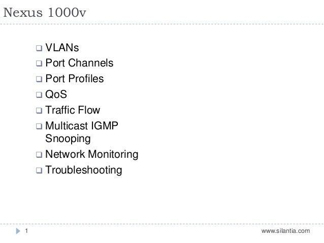 Nexus 1000v www.silantia.com1  VLANs  Port Channels  Port Profiles  QoS  Traffic Flow  Multicast IGMP Snooping  Net...