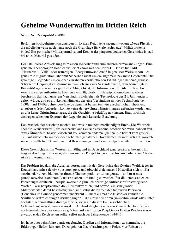 Geheime Wunderwaffen im Dritten ReichNexus Nr. 16 - April/Mai 2008Berührten hochgeheime Forschungen im Dritten Reich jene ...