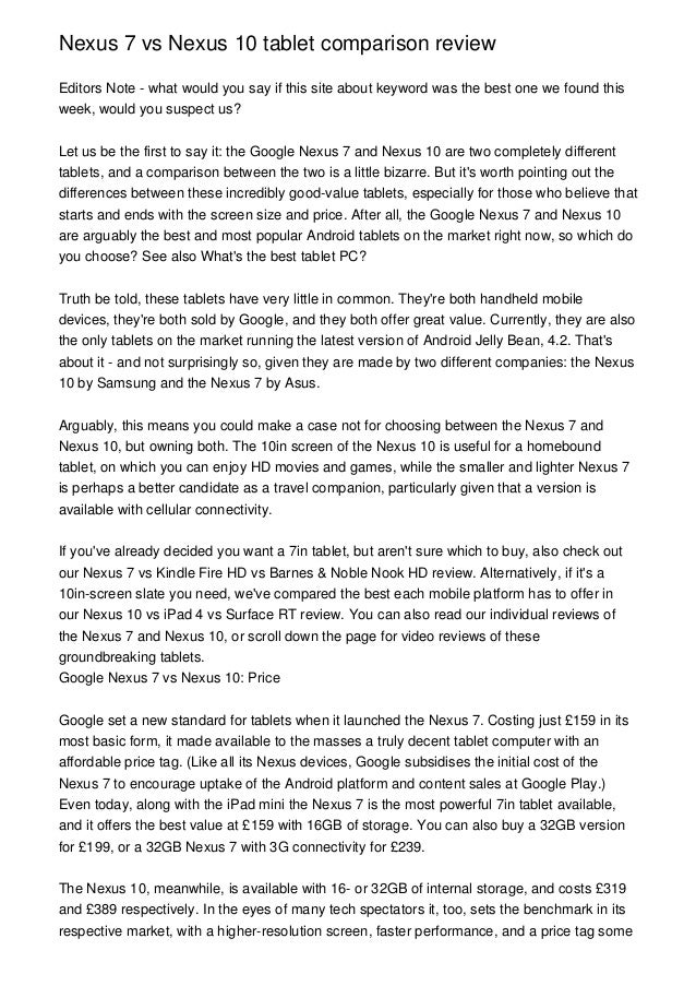 Nexus 7 vs Nexus 10 tablet comparison reviewEditors Note - what would you say if this site about keyword was the best one ...