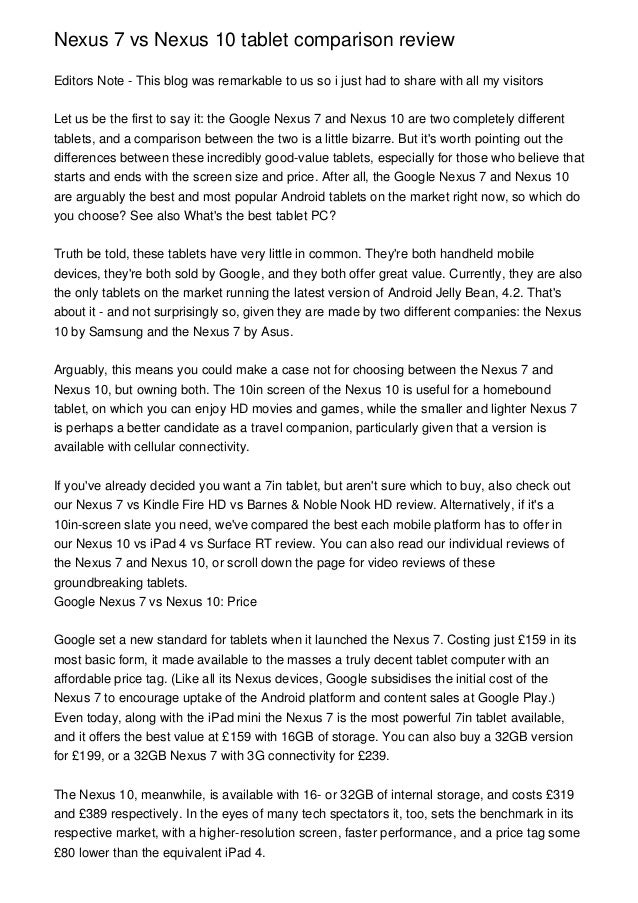 Nexus 7 vs Nexus 10 tablet comparison reviewEditors Note - This blog was remarkable to us so i just had to share with all ...
