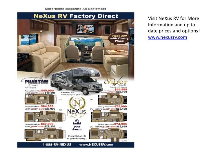 Visit NeXus RV for MoreInformation and up todate prices and options!www.nexusrv.com