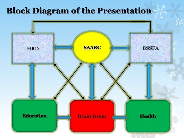 Block Diagram of the Presentation <br />SAARC<br />BSSFA<br />HRD<br />Education<br />Brain Drain<br />Health<br />