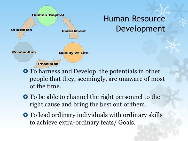Human Resource Development<br />To harness and Develop  the potentials in other people that they, seemingly, are unaware o...