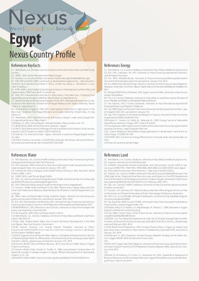 Water, Energy and Food Nexus in Egypt - Nexus Country Profiles