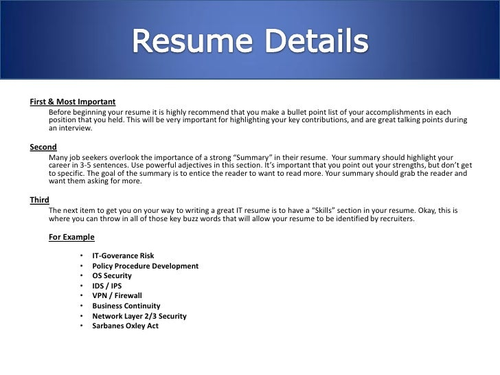resume important points