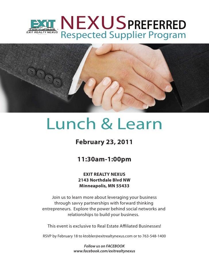 Nexus preferred feb 23rd Lunch and Learn invite