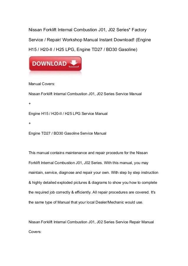 nissan forklift internal combustion f03 series workshop service repair manual download