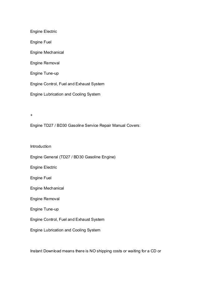 nissan 30 forklift service manual