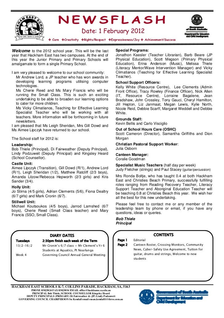 NEWSFLASH                                                Date: 1 February 2012                        ² Care ²Creativity ²...