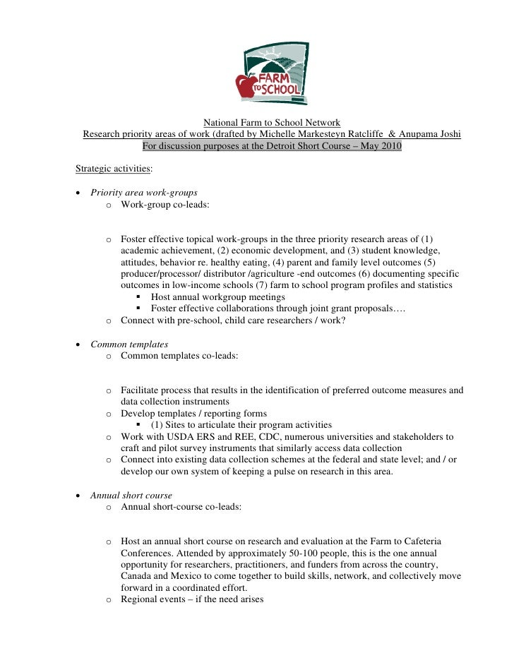 National Farm to School Network     Research priority areas of work (drafted by Michelle Markesteyn Ratcliffe & Anupama Jo...