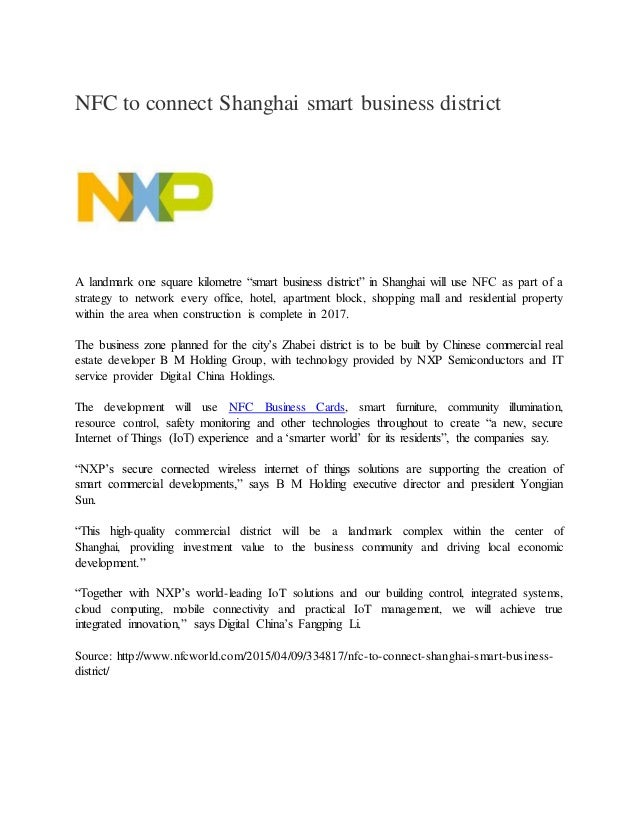 Nfc to connect shanghai smart business district nfc to connect shanghai smart business district a landmark one square kilometre smart business district reheart Images