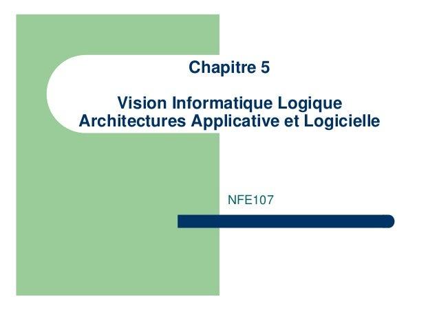 Chapitre 5 Vision Informatique Logique Architectures Applicative et Logicielle NFE107