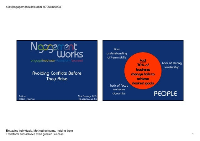 nick@ngagementworks.com 07966306903 Engaging individuals, Motivating teams, helping them Transform and achieve even greate...