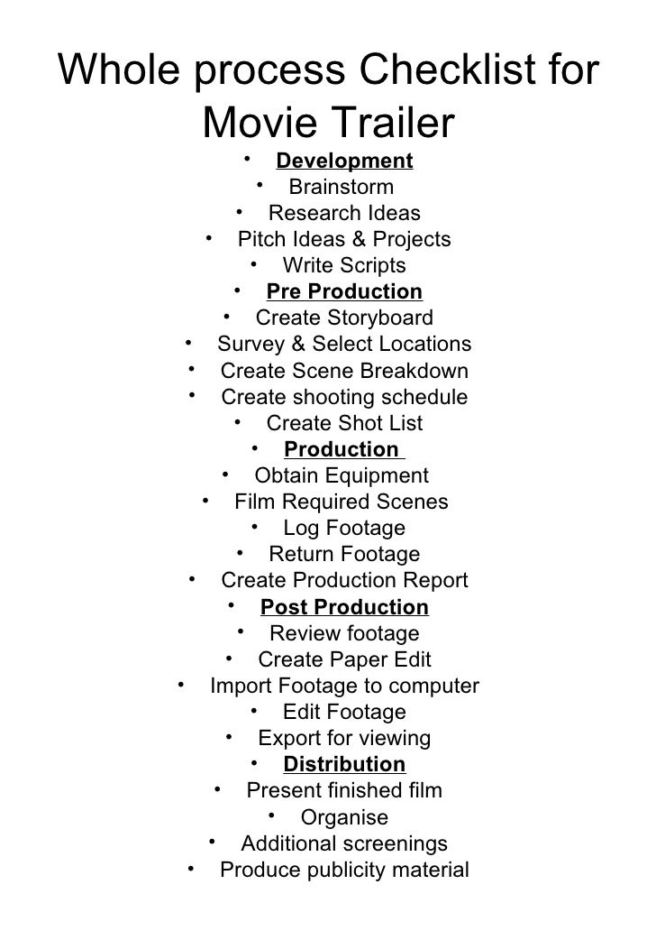Whole Process Film Making Checklist