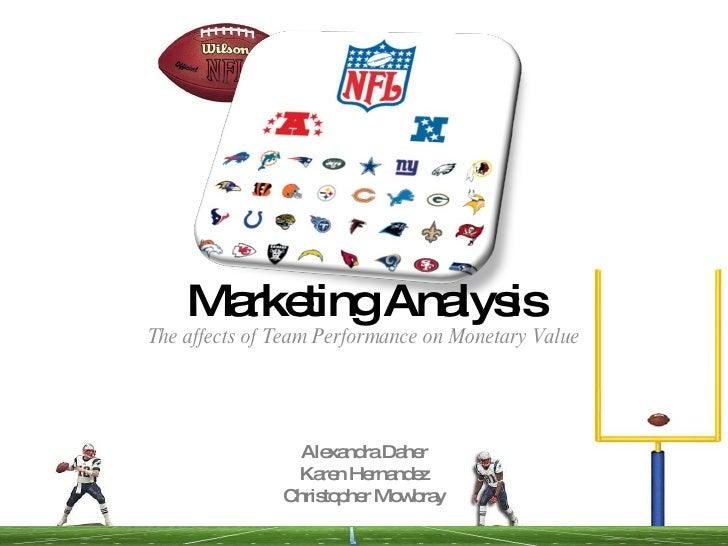 Marketing Analysis The affects of Team Performance on Monetary Value Alexandra Daher Karen Hernandez Christopher Mowbray