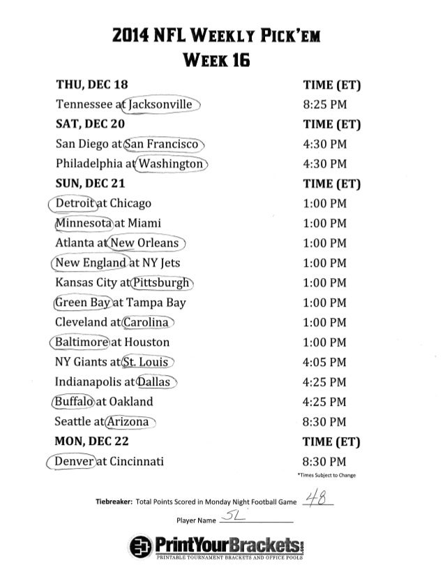 image about Nfl Week 15 Printable Schedule known as Nfl 7 days 16