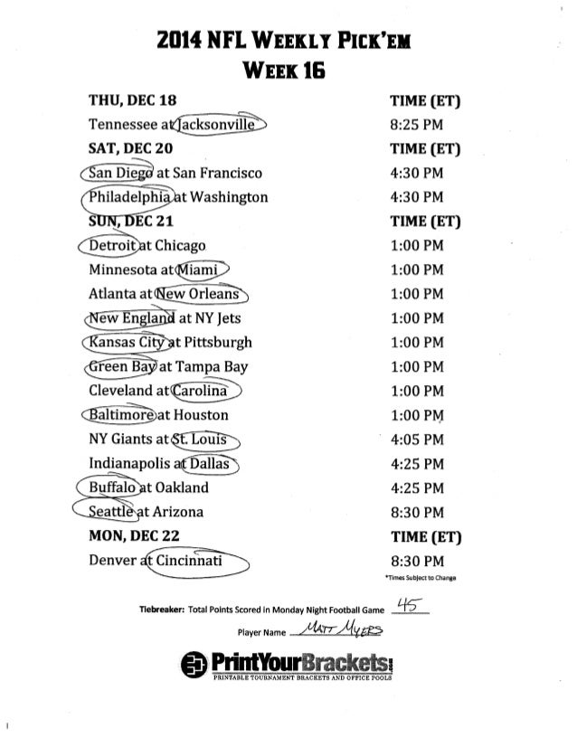 image about Nfl Week 16 Printable Schedule called Nfl 7 days 16