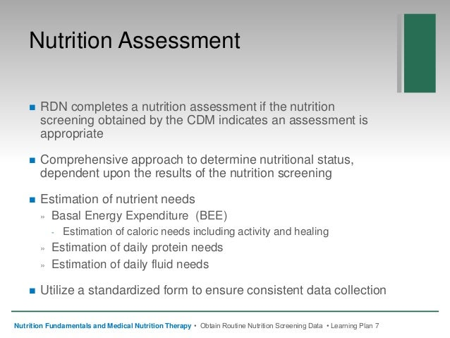 NFMNT Chapter 7 Obtain Routine Nutrition Screening Data