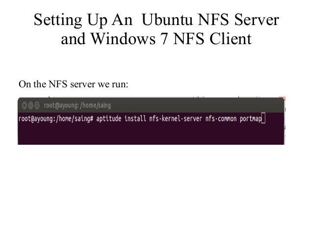 NFS ubuntu Server and windows 7 Client