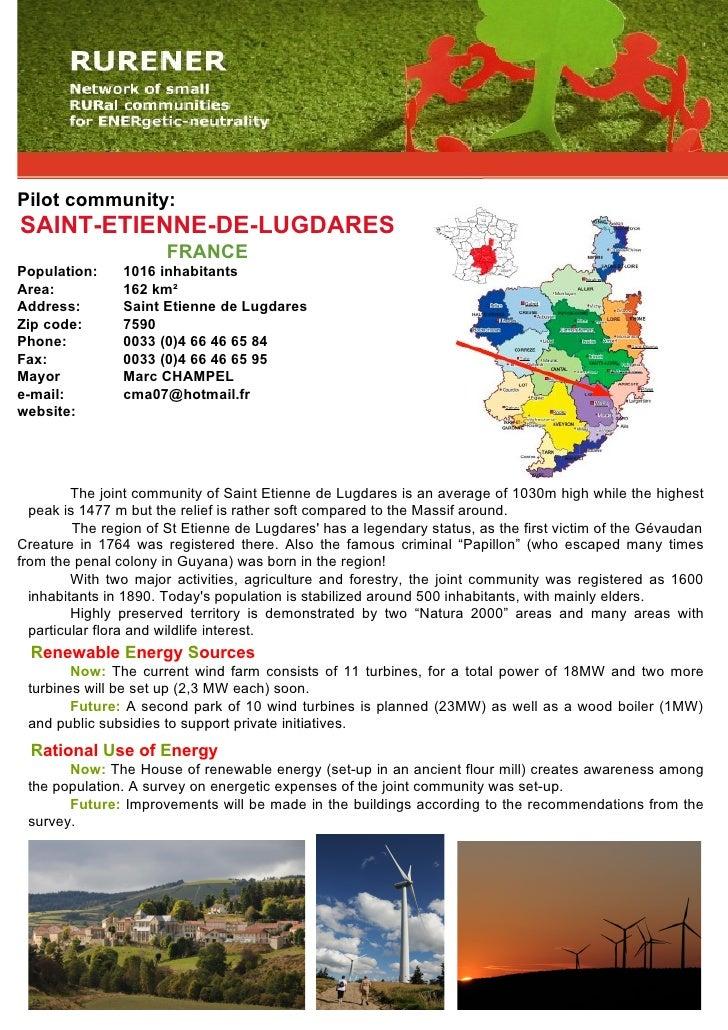 Pilot community: SAINT-ETIENNE-DE-LUGDARES                        FRANCE Population:     1016 inhabitants Area:           ...