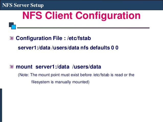 Linux System Administration - NFS Server
