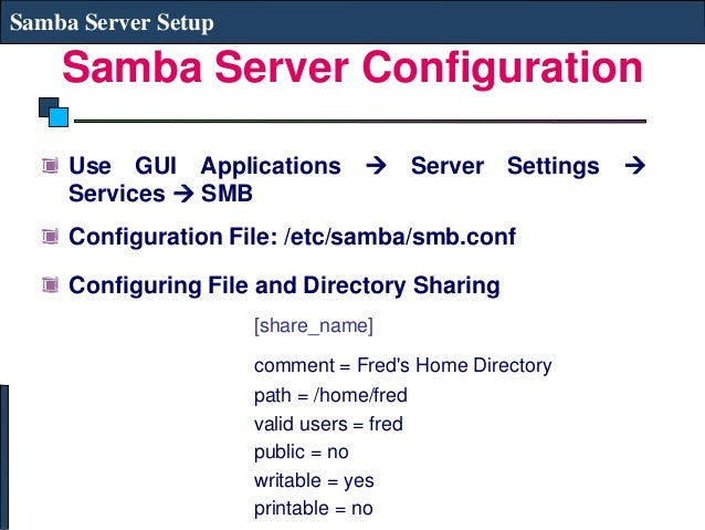 samba server configuration in linux