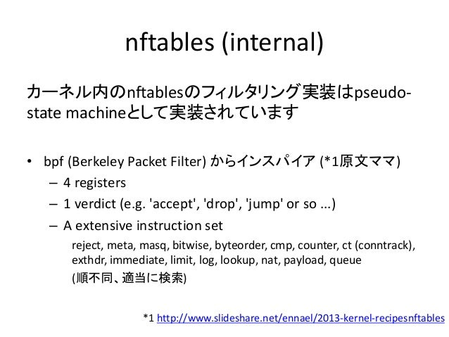 nftablesの読み方 libnftnl/examples/nft-rule-get ip saddr 192.168.1.0/24 oif eth0 snat 10.0.0.1 => ip nat postrouting 7 6 // 7:...