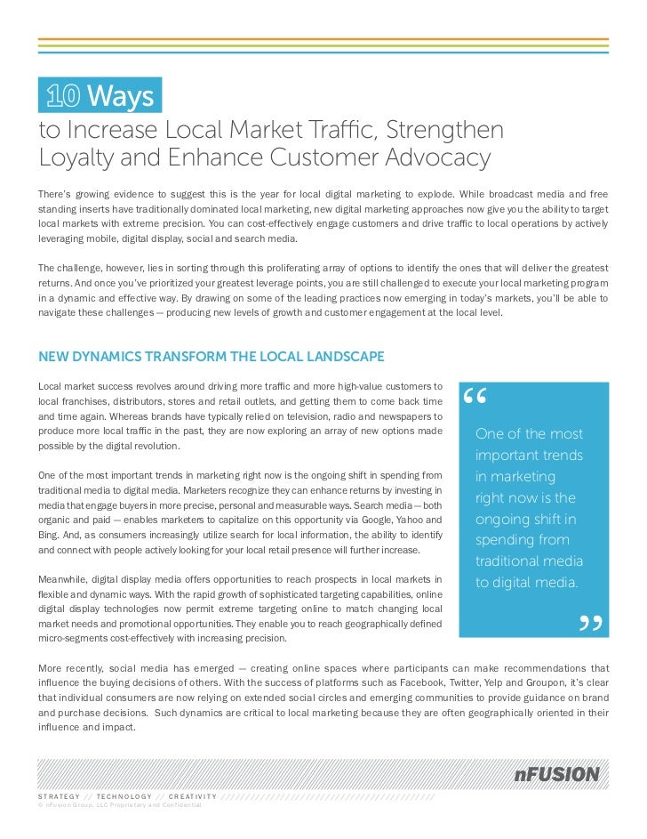 Waysto Increase Local Market Traffic, StrengthenLoyalty and Enhance Customer AdvocacyThere's growing evidence to suggest t...