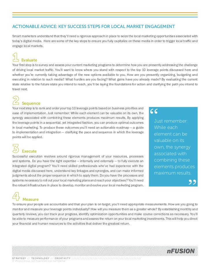 ACTIONABLE ADVICE: KEY SUCCESS STEPS FOR LOCAL MARKET ENGAGEMENTSmart marketers understand that they'll need a rigorous ap...