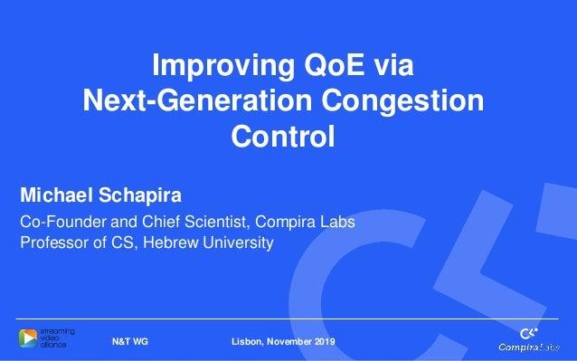 Lisbon, November 2019N&T WG Improving QoE via Next-Generation Congestion Control Michael Schapira Co-Founder and Chief Sci...