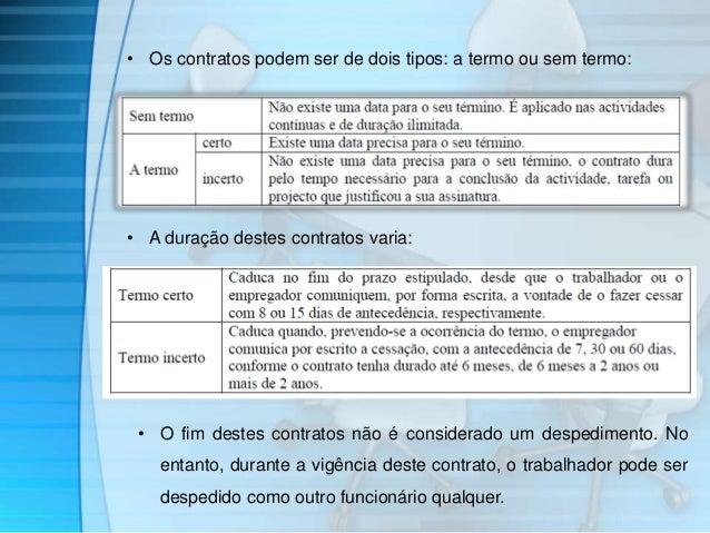 • Os contratos podem ser de dois tipos: a termo ou sem termo:  • A duração destes contratos varia:  • O fim destes contrat...