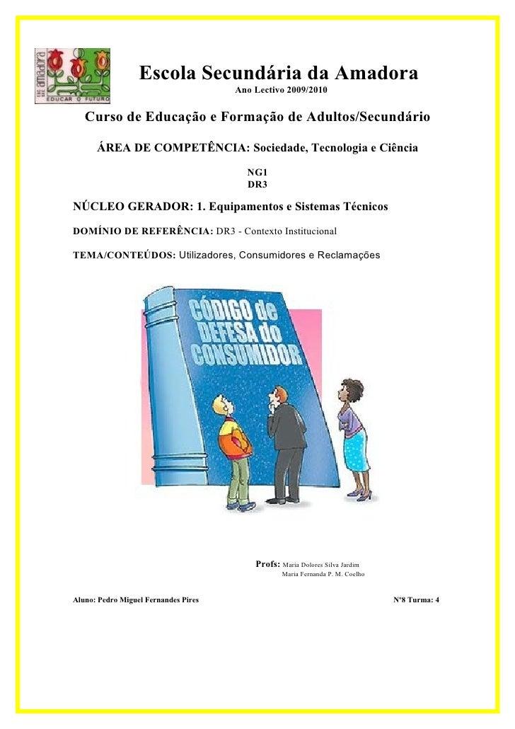 Escola Secundária da Amadora                                       Ano Lectivo 2009/2010     Curso de Educação e Formação ...