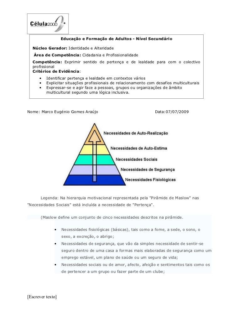 Educação e Formação de Adultos - Nível Secundário    Núcleo Gerador: Identidade e Alteridade    Área de Competência: Cidad...