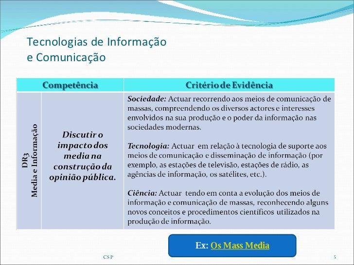 Tecnologias de Informação e Comunicação CSP Ex:  Os Mass Media