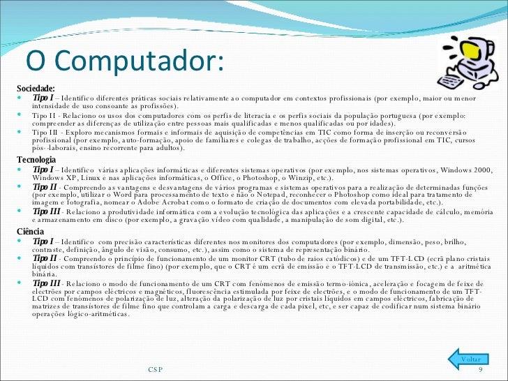 O Computador:  <ul><li>Sociedade: </li></ul><ul><li>Tipo I  – Identifico diferentes práticas sociais relativamente ao comp...